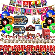 Roblox Party Supplies for Kids Birthday, 174 pcs, Happy Birthday Banner,Spiral Ornaments,Plates,Knives,Spoons,