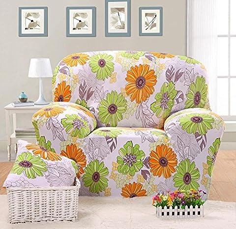 Housse de canapé élastique Imprimé fleurs Slipcover étroite Wrap complet Housse de canapé d'angle stretch couvertures de meubles 1/2/3places, 004, 3 seater:190-230cm
