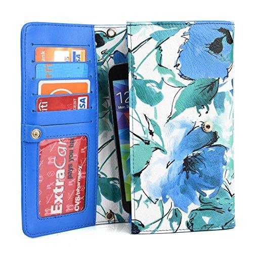 Kroo Pochette Crocodile pour portefeuille et étui pour Blu Life One M/Studio 5.0S II Multicolore - vert Multicolore - vert