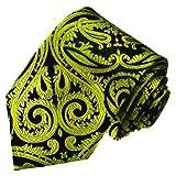 Lorenzo Cana - Original Marken Krawatte aus 100% Seide - Schwarz Gelb Paisleymuster - 84448