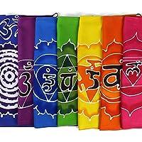 Beautiful Handmade Prayer Flag Style Rainbow Colourful Chakra symbols Batik Flags Bunting