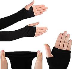 Rrc WV001RCA0096 Fingerless Arm Sleeve with Thumb Hole (Set of 2, Black)