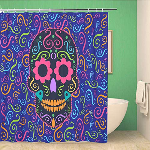 Awowee Decor Duschvorhang Candy Skull Flower Eyes Sugar Celebration Collection Culture Dark 180 x 180 cm Polyester Stoff Wasserdicht Badvorhänge Set mit Haken für Badezimmer Flower Sugar Collection