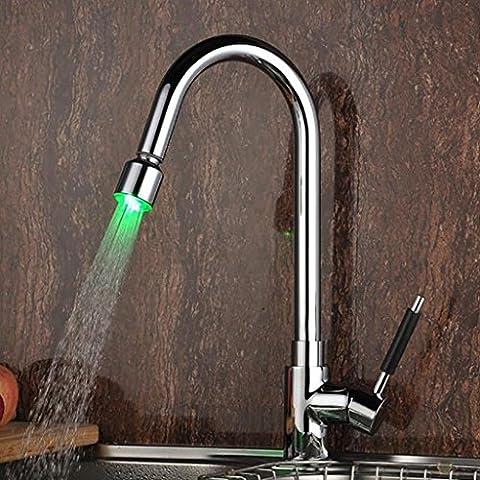 WP- Control de temperatura con las luces del grifo de la cocina nueva tirón - Tipo de rotación del hogar tocadores fregadero de la cocina grifo