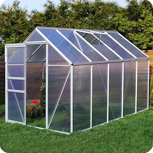 Aluminium Gewächshaus mit Fundament verschiedene Modelle Treibhaus Garten Pflanzenhaus Alu Tomatenhaus (190x310, Silber) - Hochbeet-anschlüsse