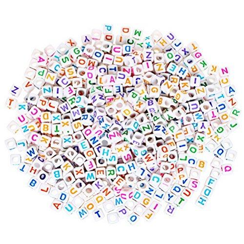 Abalorios de plástico de SUMAJU con letras individuales de la A a la Z para manualidades y bisutería, cada cubo mide 6x 6mm (500 unidades), Color Random