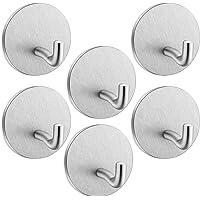 Self Adhesive Hooks Heavy Duty SonTiy Stainless Steel Wall Door Hooks Office Home Kitchen Bathroom Closet Sticky Hooks…