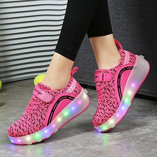 HUSK'SWARE Baskets Enfants LED Chaussures Lumineuse À Roulettes Garçons Filles Sneakers Avec Roues Automatique De Patinage Chaussures avec Roues Easter Day Rose-Une roue