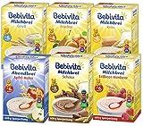 Bebivita Milchbrei - Mix 6 Sorten: Grieß, Frucht, Keks, Schoko, Erdbeer-Himbeer und Abendbrei, 6er Pack (6 x 600g)
