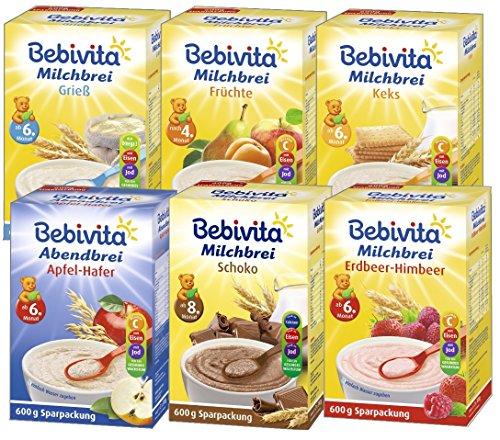 Preisvergleich Produktbild Bebivita Milchbrei - Mix 6 Sorten: Grieß,  Frucht,  Keks,  Schoko,  Erdbeer-Himbeer und Abendbrei,  6er Pack (6 x 600g)