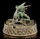 Goldfarbener Aschenbecher mit grünem Drachen Deckel | Figur Ascher