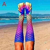 remeyou de 3pares Mujeres sirena Calcetines 3d Impresión Larga Rodillera alta–Calcetines dibujos animados animales dedos pies calcetín, un tamaño cabe todos, (Varios Colores), color multicolor, tamaño talla única