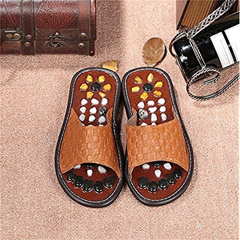 ZHLONG Uomo che massaggia pantofole naturale ghiaia massaggio piede punto salute casa pantofole , brown , medium - Grande Punto Di Sonno Cozy