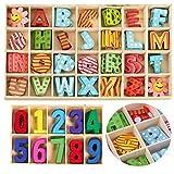 mengger 172Pcs Lettere in Legno Piccole Numeri in Legno Colorati Grandi Decorative Bambini Wooden Letters Numbers Alfabeto