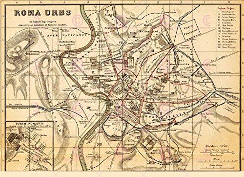 Doppelganger33 LTD Map Antique Kiepert 1903 Roma Urbs City Plan Large Replica Canvas Art Print -