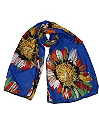 Luxury Blue chiffon Sunflower scarf with piped Black edge