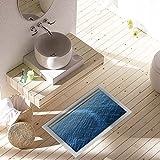 PAG 3D Wasserdicht Badezimmer tiefen blauen Ozean Muster Fu§boden-Aufkleber Antirutsch Waschbar Dusche-Raum-Dekor