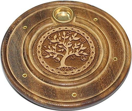 Assiette porte encens et support de cone en bois grave 10cm Arbre de Vie