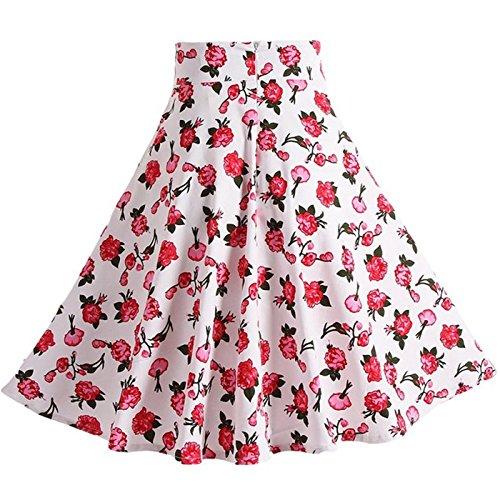 Tailloday Damen 50er Jahre Art Rock Vintage Floral Rockabilly Swing Tellerrock L -