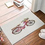 Large beach pants Felpudo Grande para Bicicleta, diseño de Rayas, Antideslizante de Goma para Interiores y Exteriores, Alfombra de Suelo para baño/Entrada Delantera