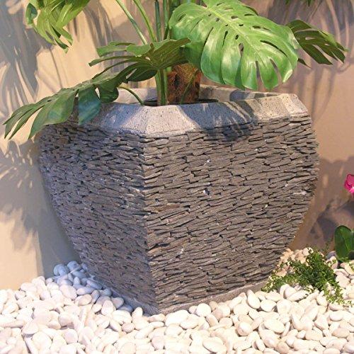 wanda collection Maceta Tiesto Jardinera Moldeada Pizarra 50 cm jardín Piedra Natural