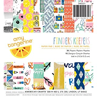 American Crafts Paper Pad x 6-inch 36/Pkg-Amy Tan Finders Keepers, Other, Multicoloured, 0.63 x 15.24 x 16.51 cm