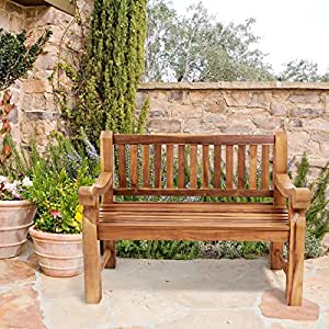 patio bench solid wood classic design two seat bench