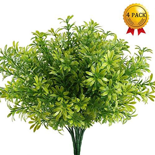 Nahuaa 4 Pcs Kunstpflanze Sträucher Dekor Palme-Pflanze gefälscht Frühling Plastik künstlich für Zimmer Balkon innen draußen Büro Fensterbank