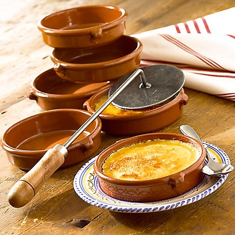 Set of six 4.5 inch cazuelas & caramelizing iron;Includes a traditional Catalan recipe;Make this treat on your stove top without a torch!