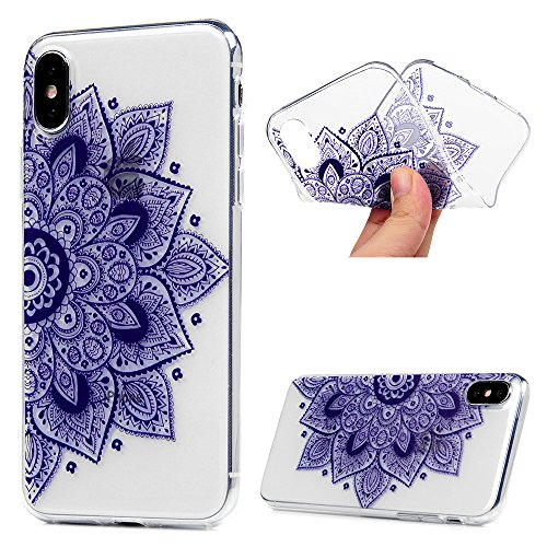 iPhone X Cover, Custodia Morbida Silicone TPU Flessibile Gomma - MAXFE.CO Case Ultra Sottile Cassa Protettiva per iPhone X - Nero Acchiappasogni Totem Viola