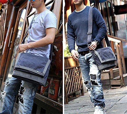 Global-Man Tasche Schultertasche Messenger Bag Leinentasche Mann Umhängetasche Studenten Tasche Schulranzen Sporttasche Gezeiten L