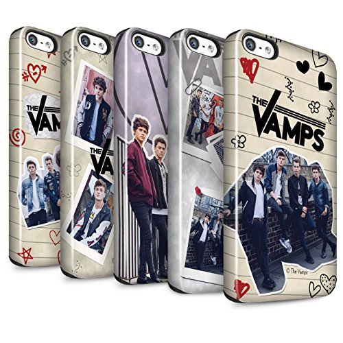 Offiziell The Vamps Hülle / Glanz Harten Stoßfest Case für Apple iPhone 5/5S / Pack 5Pcs Muster / The Vamps Doodle Buch Kollektion Pack 5Pcs