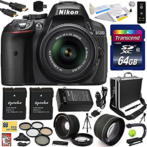 Nikon D5300 24.2 MP CMOS Digital SLR Camera with 18-55mm f/3.5-5.6G ED VR II AF-S DX NIKKOR Zoom Lens (Black) (1522) with Exclusive Accessory Bundle Kit includes 64GB SD Memory Card + SD Card Reader + 60