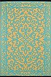 Green Decore Grün Deko-wendbar-leicht Kunststoff Teppich Gala Safran \ blau türkis–3X 5ft (90x 150cm), safran/blau türkis