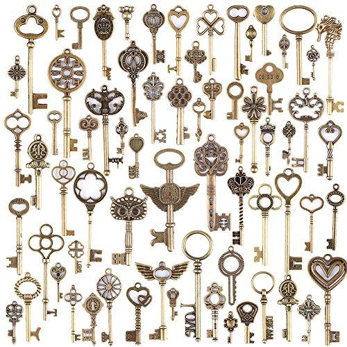JuanYa: 69piezas de llaves estilo vintage, color bronce antiguo, amuletos mezclados para la elaboración de joyería, bricolaje