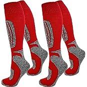 normani 2 Paar Skisocken/Ski-Kniestrümpfe mit Spezialpolsterung und Schafwollanteil Farbe Grau-Rot Größe 35/38