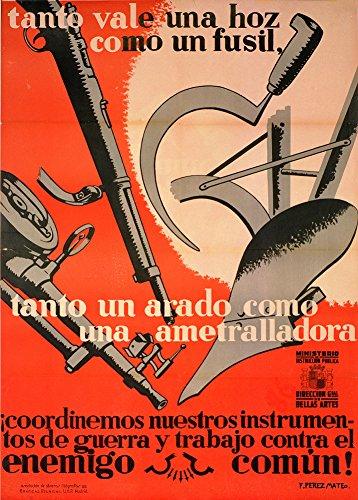 r, Propagandaplakat des spanischen Bürgerkriegs 1936-39-Tanto vale una hoz como un fusil, tanto un arado como una ametralladora (Eine Sichel ist wie ein Gewehr und ein Pflug ist wie ein Maschinengewehr), spanische Aufschrift, 250g/m², Hochglanz, Nachdruck, A3 ()