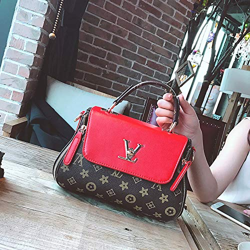 LFGCL Bags womenPrint Bag Fashion alte Blume frauentasche Schulter umhängetasche, rot