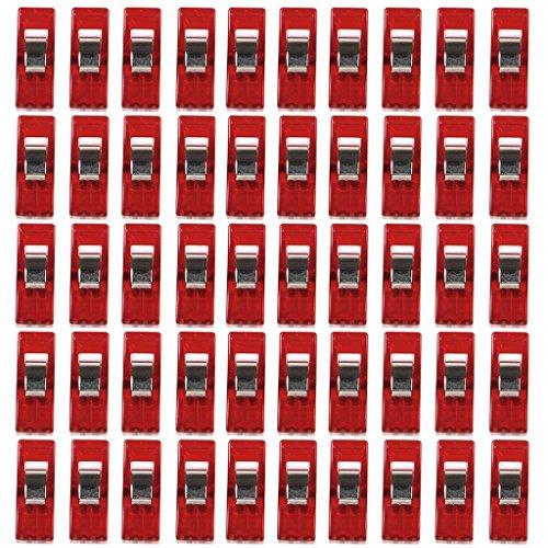 Generic Nähen Craft Quilt Binding Kunststoff Clips Klemmen klar und rot