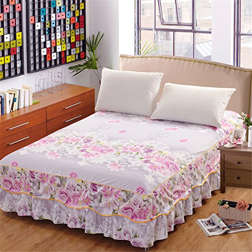 ishine Bett Rock Tagesdecke Bett Abdeckung 150cmx200cm Steppdecke Bettüberwurf Ohne Kissenbezug-Hell Rosa (Frühjahr Bedskirt)