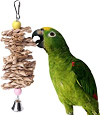 PoeHXtyy Pet Bird Chew Toy Parrot Parakeet Bites Straw Ball Bell Cage Hanging Toy Gnawing Toys