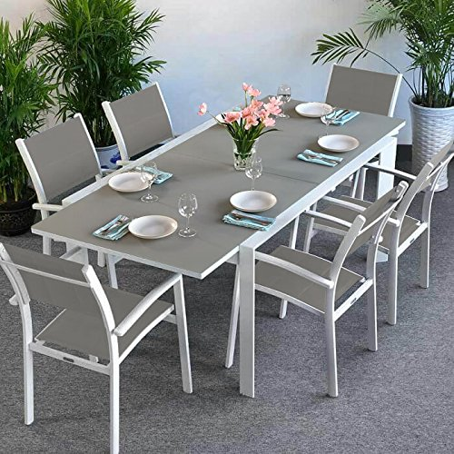 Salon jardin aluminium table