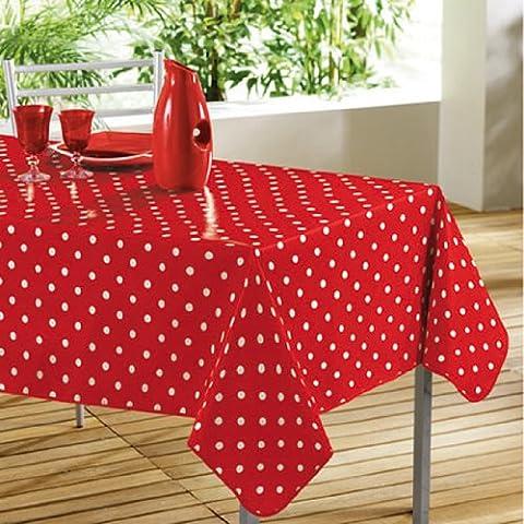 DecorLine Nappe Imprimé Rouge/Blanc 140 x 240 cm