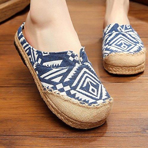 DM&Y 2017 Ms. scarpe di cotone plaid casuale vento nazionale fatti a mano scarpe pantofole paglia di canapa Yunnan Blue