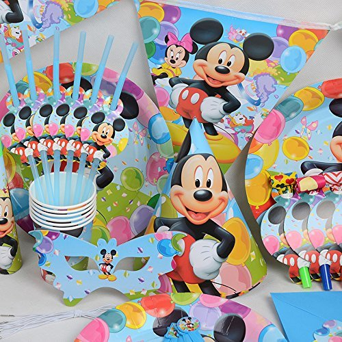 Preisvergleich Produktbild Disney 's Mickey Maus – Geburtstag Hochzeit Party Dekoration Geschirr Cartoon 16 Pack Kit von trimmen Shop (hellblau)