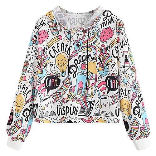 Karnevalsaktion Damen Mode Frauen Langarm Cartoon Print Drawstring Hoodie Sweatshirt Bluse