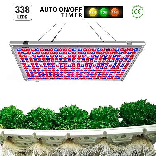 Relassy Pflanzenlampe LED 300w Lichtleistung Vollspektrum Panel Pflanzenlicht mit 12/15/18/24Std Timing-Funktion, 65W Verbrauchsleistung Pflanzenlampen für blühende und tragende Obstpflanzen (M-300)