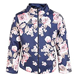 Cutecumber Girls Neoprene Floral Printed Navy Jacket AM-CC879A-NAVY-26