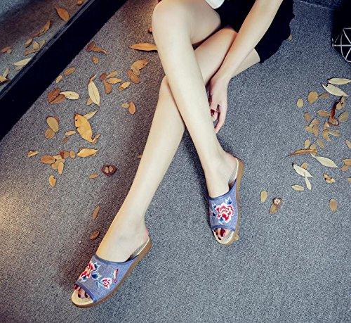 DESY Peony ricamato scarpe, suola tendine, stile etnico, femminile caduta di vibrazione, modo, comodo, sandali denim blue