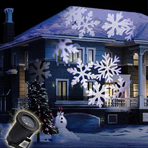 Netzspannung Scheinwerfer (GAXmi Weihnachten Fee LED Dynamisch Schneeflocke Muster Mauer Projiziert Urlaub Scheinwerfer)